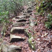 Steep stairs heading down to the falls